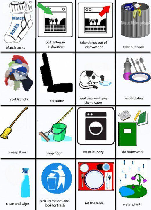 Chores clipart visual. Free printable chore charts