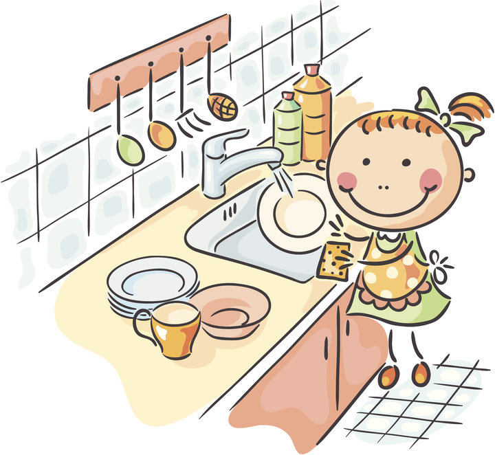 How hand the dishes. Chores clipart washing dish