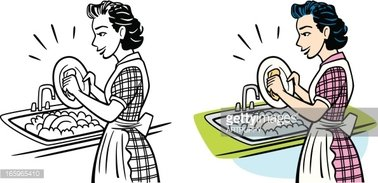 Chores clipart washing dish. Vintage housewife dishes stock