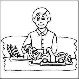 Clip art kids the. Chores clipart washing dish