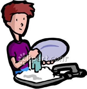 Kid dishes royalty free. Chores clipart washing dish