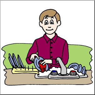 Clip art kids chores. Dishes clipart