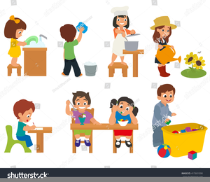 Child doing free images. Chores clipart