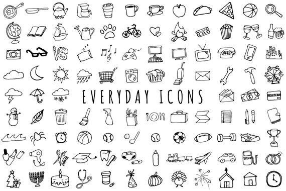 Chores clipart black and white. Everyday items set version