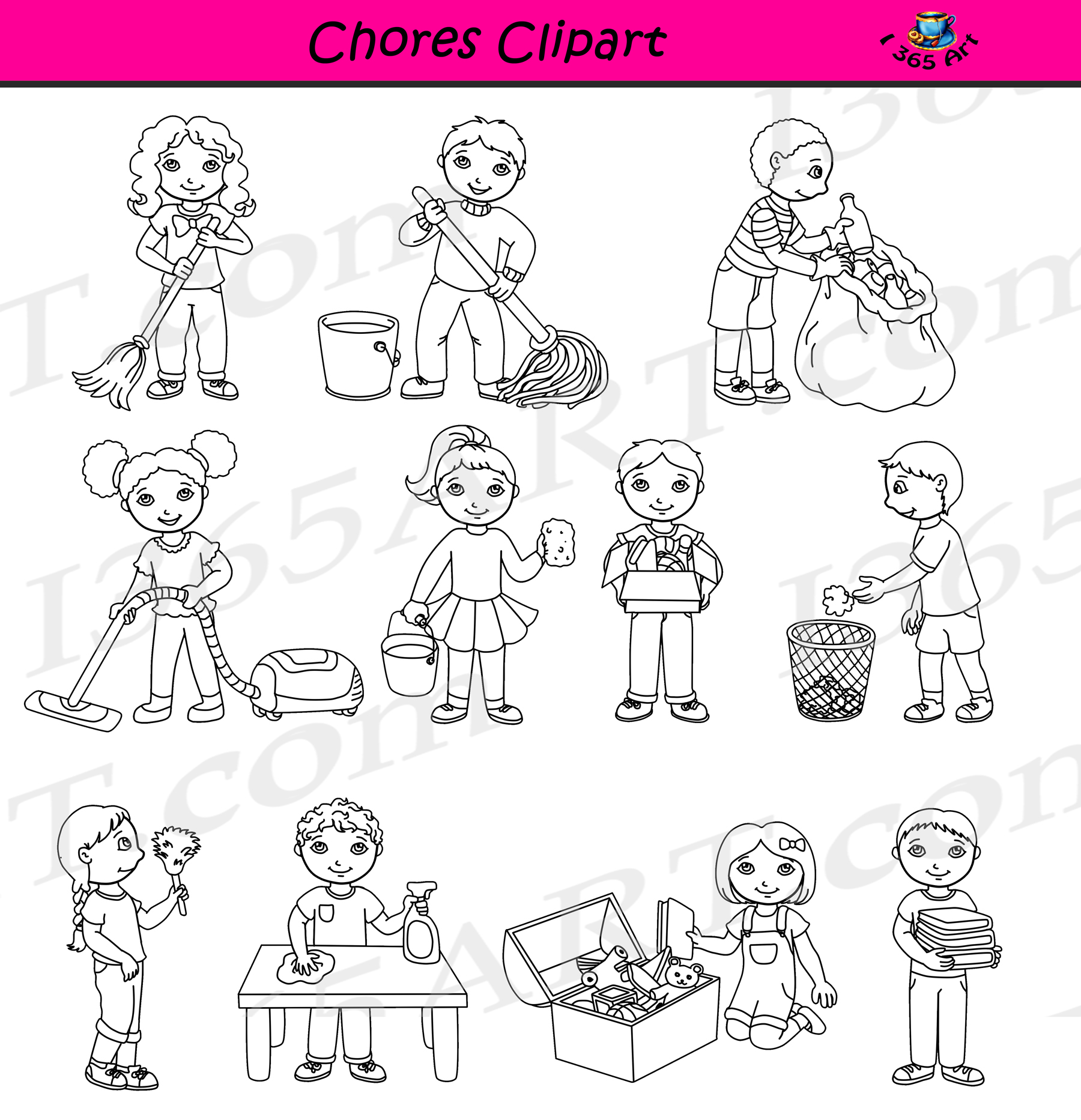 Cleaning commercial graphics. Chores clipart classroom