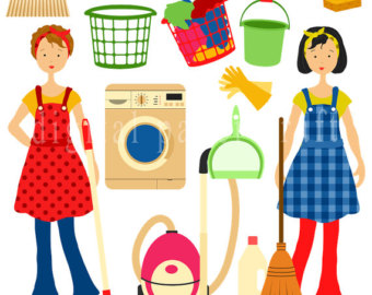 Chores clipart clip art. Cleaning housework instant home