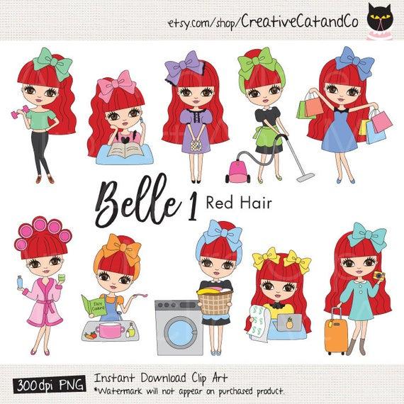 Red hair girl planner. Chores clipart clip art