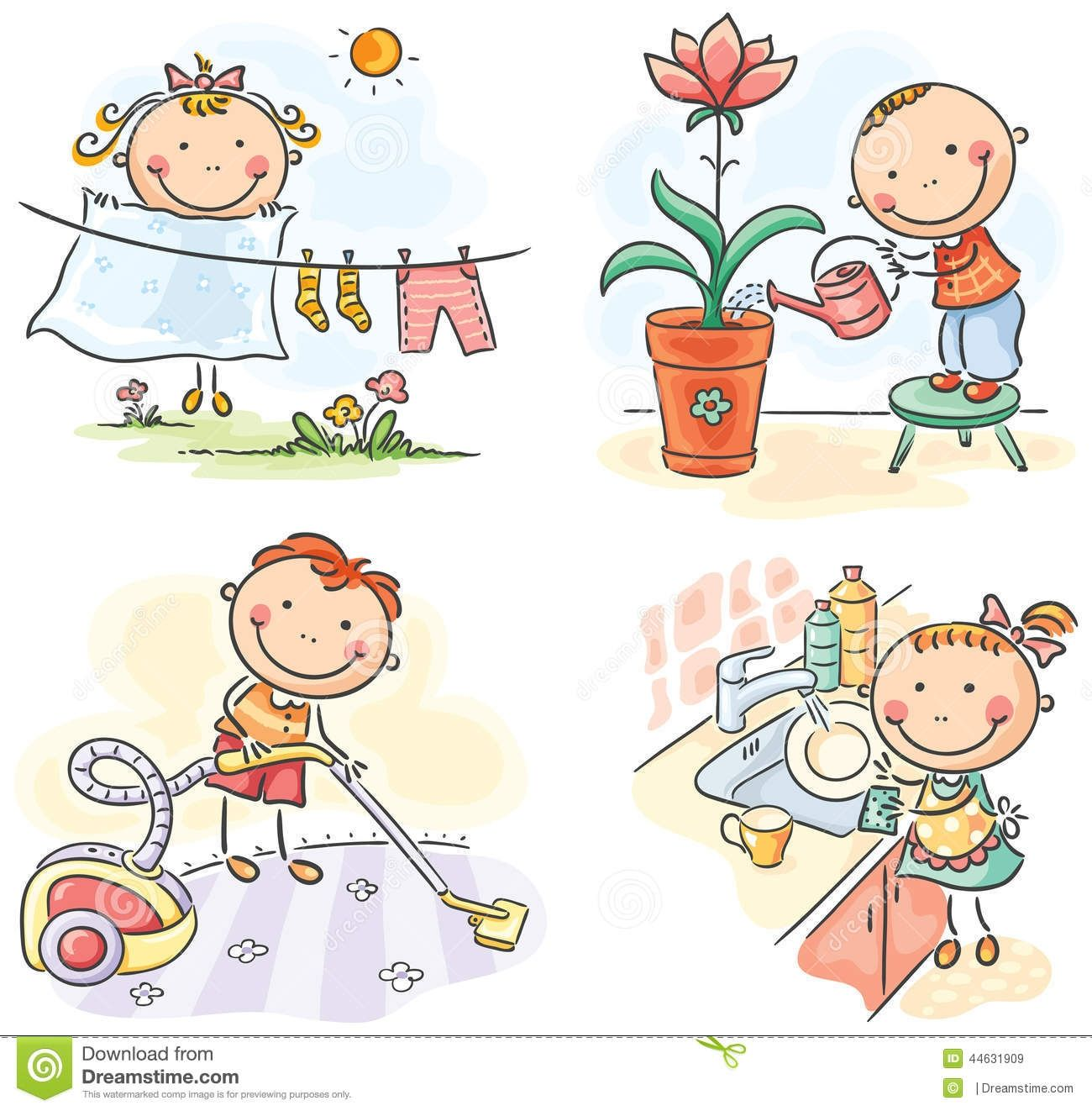 Father clipart chore. Kids helping their parents