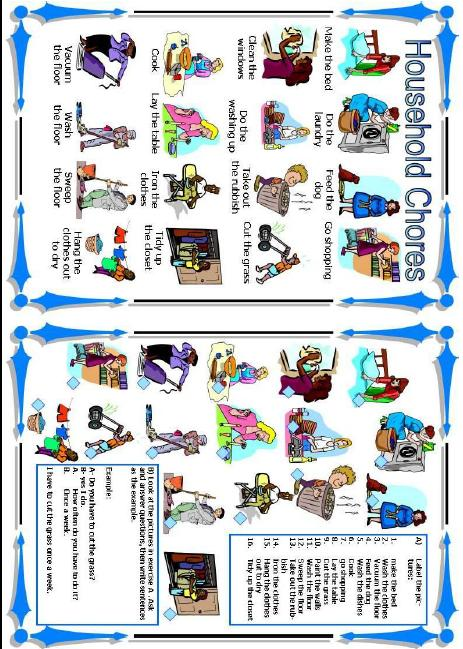 Worksheet . Chores clipart household activity