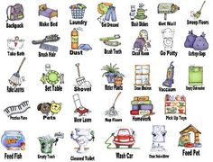 Susan fitch design illustrations. Chores clipart job chart
