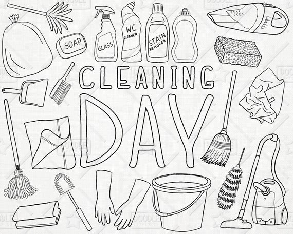 Chores clipart laundry. Doodle cleaning vector pack