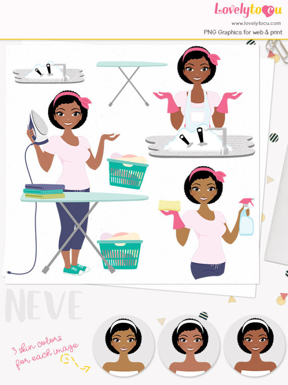 Woman character housework . Chores clipart laundry