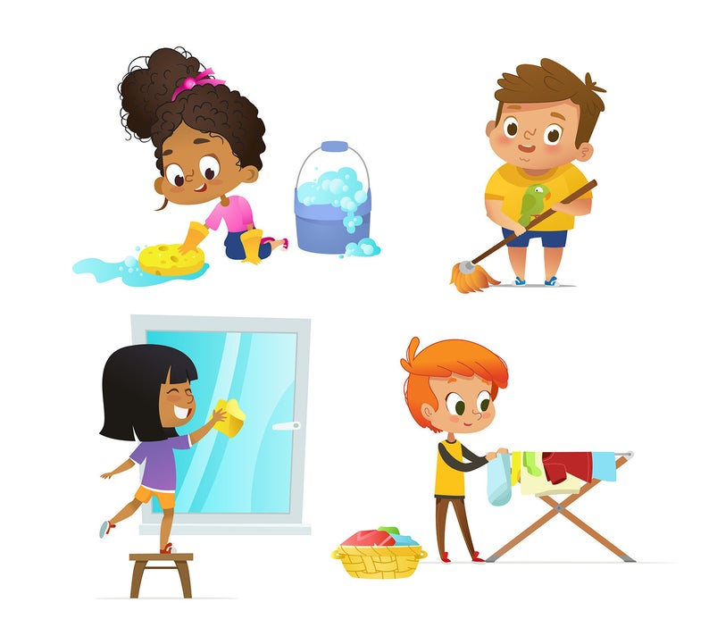 Cleaning children household routines. Chores clipart school