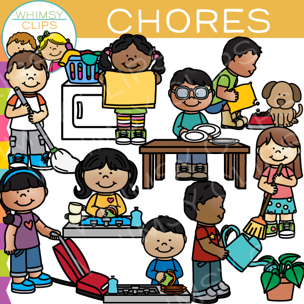 collection of kids. Chores clipart school
