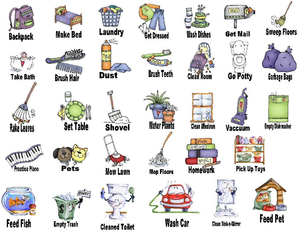 Clipart kid chore. Household chores station
