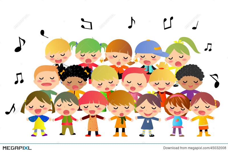 Children singing illustration megapixl. Chorus clipart childrens choir