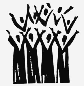 Church clip art praise. Choir clipart black and white