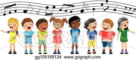 Chorus clipart cute. Vector illustration happy multicultural