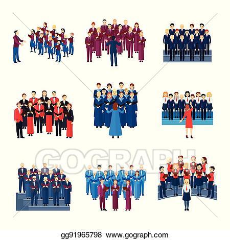 Eps illustration choir singing. Chorus clipart ensemble
