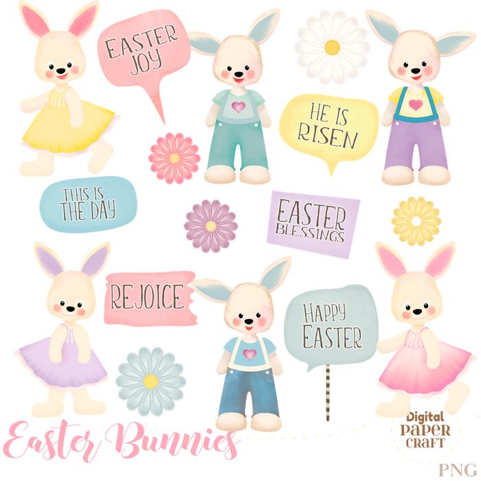 Easter bunny rabbit ea. Christian clipart cartoon