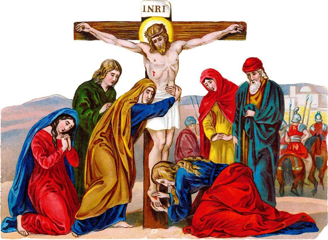 Antique catholic holy cards. Christian clipart crucifixion