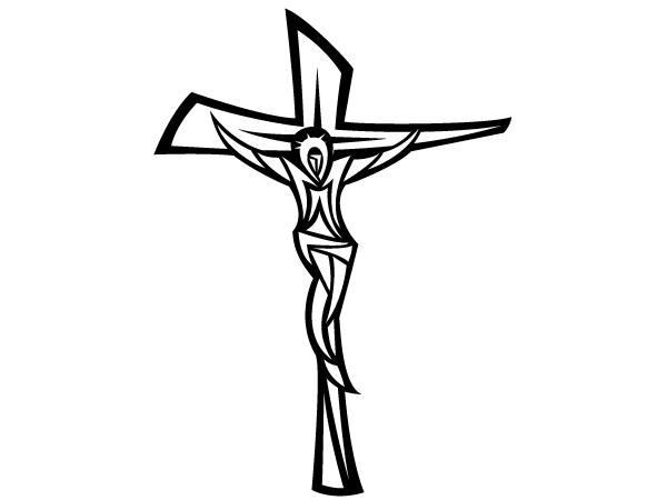 Black and white panda. Crucifix clipart