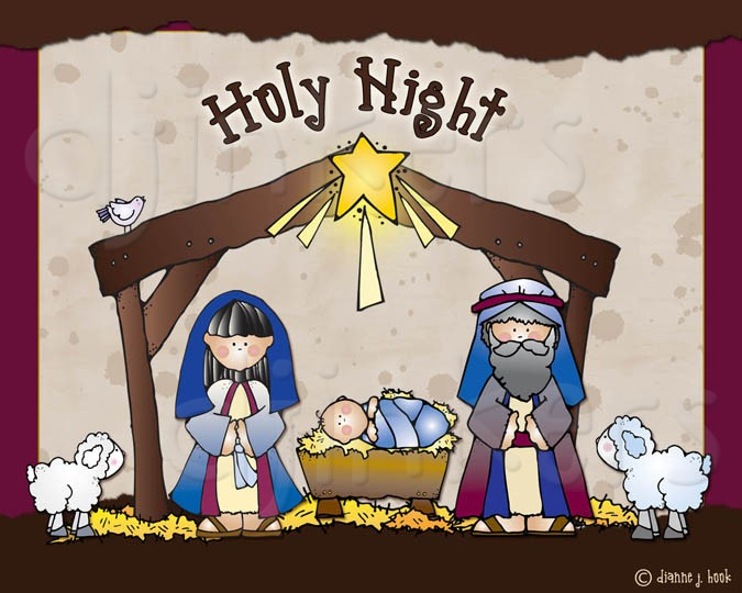 Sweet christmas nativity clip. Christian clipart cute