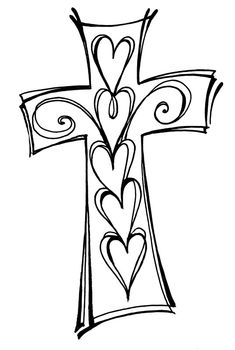 Christian clipart drawing. Cross and swirls black