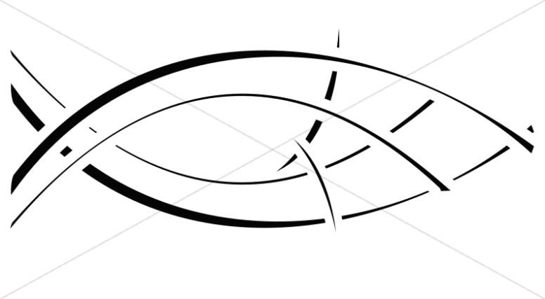 Graphics images retro symbol. Christian clipart fish