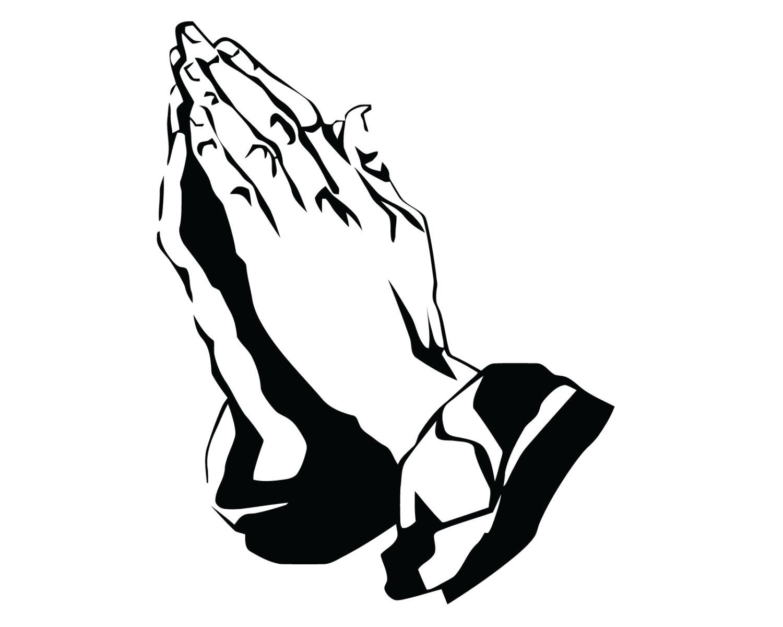 Christian clipart forgiveness. Praying hands decal sticker