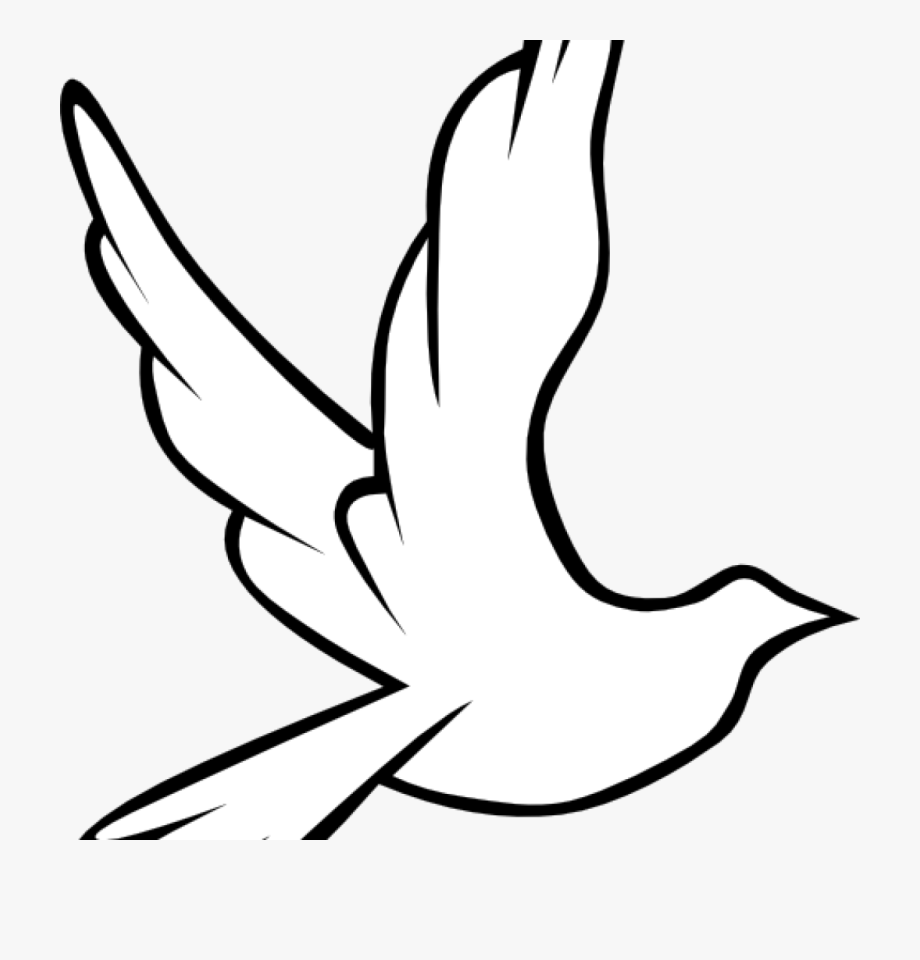 Christian clipart line. Funeral dove no background