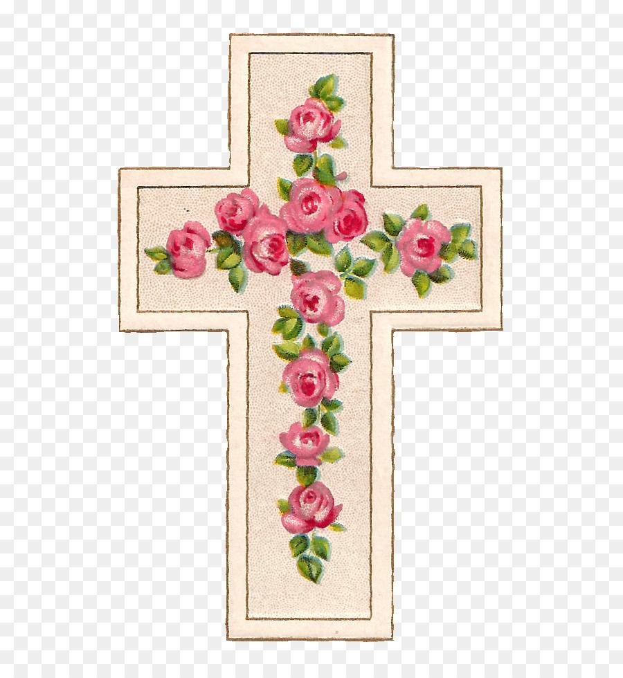 Clipart rose cross. Pink background frame flower