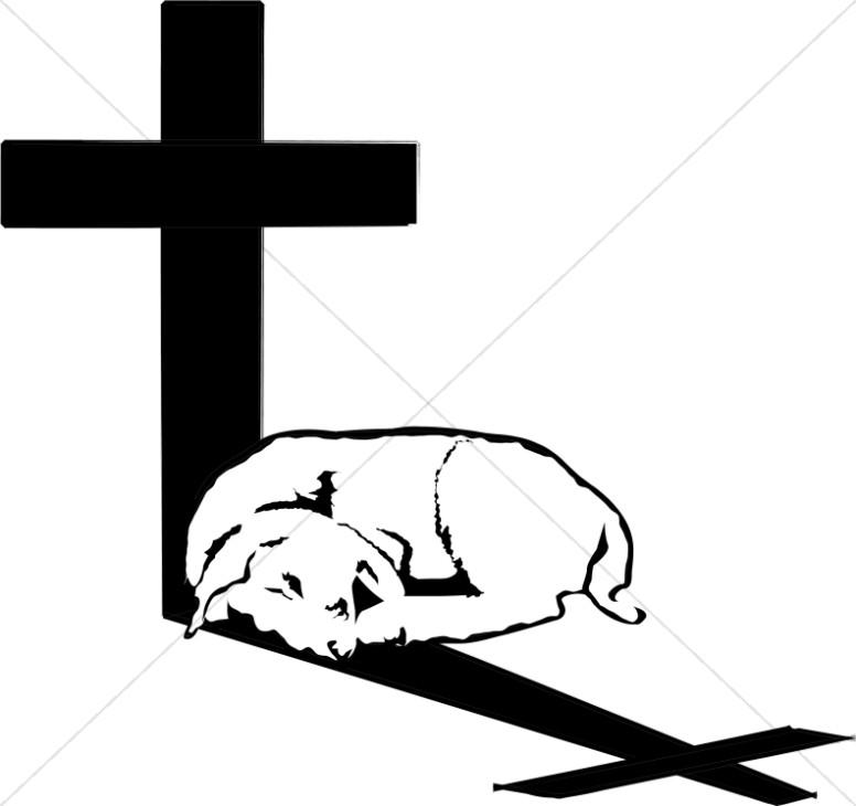 Lamb clipart cross. In shadow