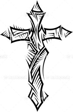 Tattoo designs armband cross. Christian clipart tribal