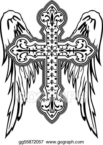 Vector illustration cross with. Christian clipart tribal