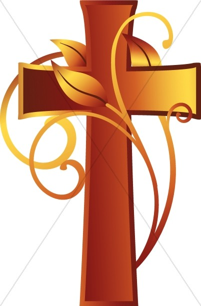 Cross and vine harvest. Christian clipart