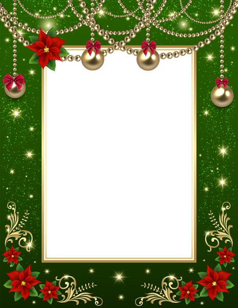 Transparent photo frame green. Christmas border png