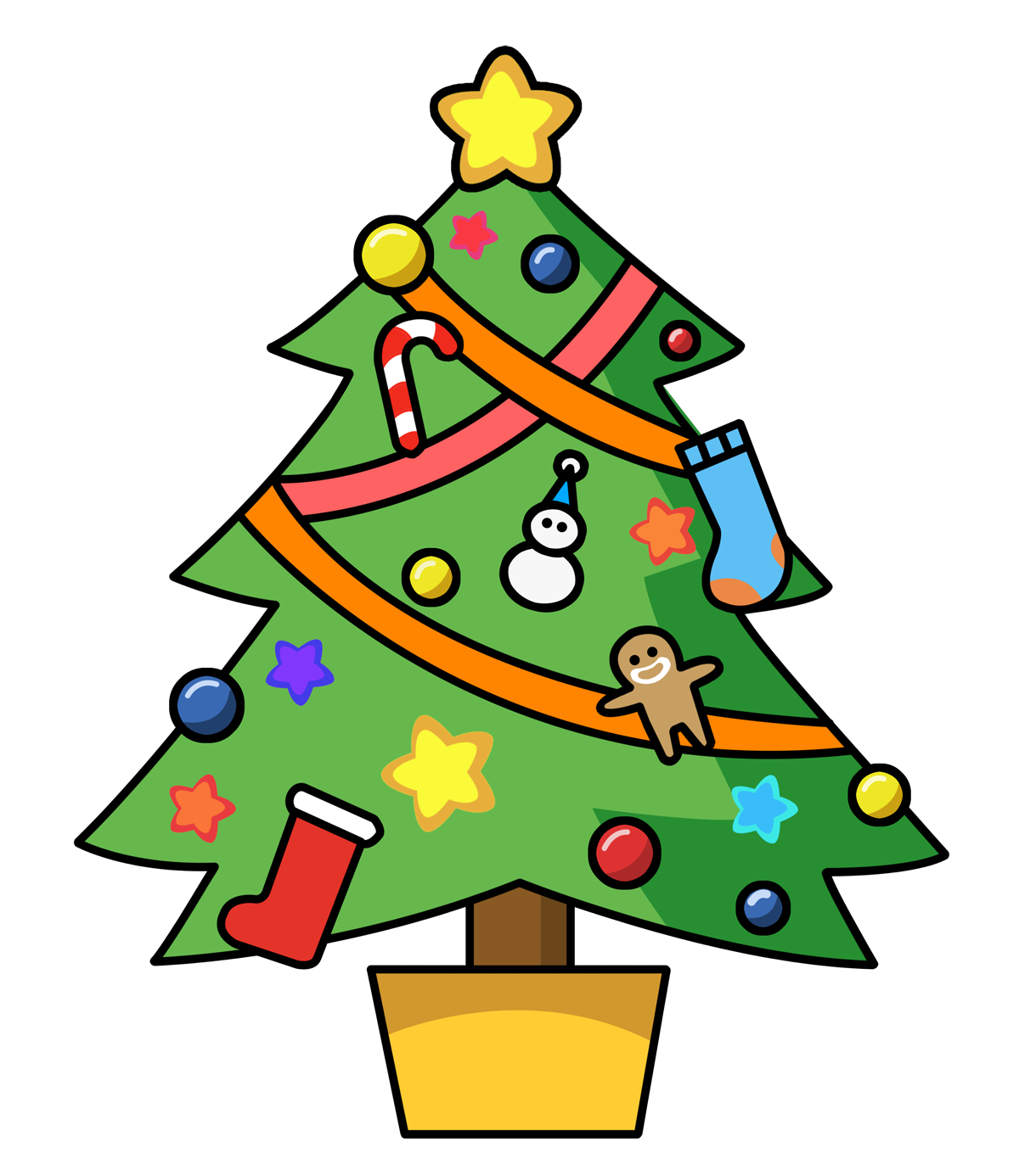 Christmas clip art panda. Tree clipart cute
