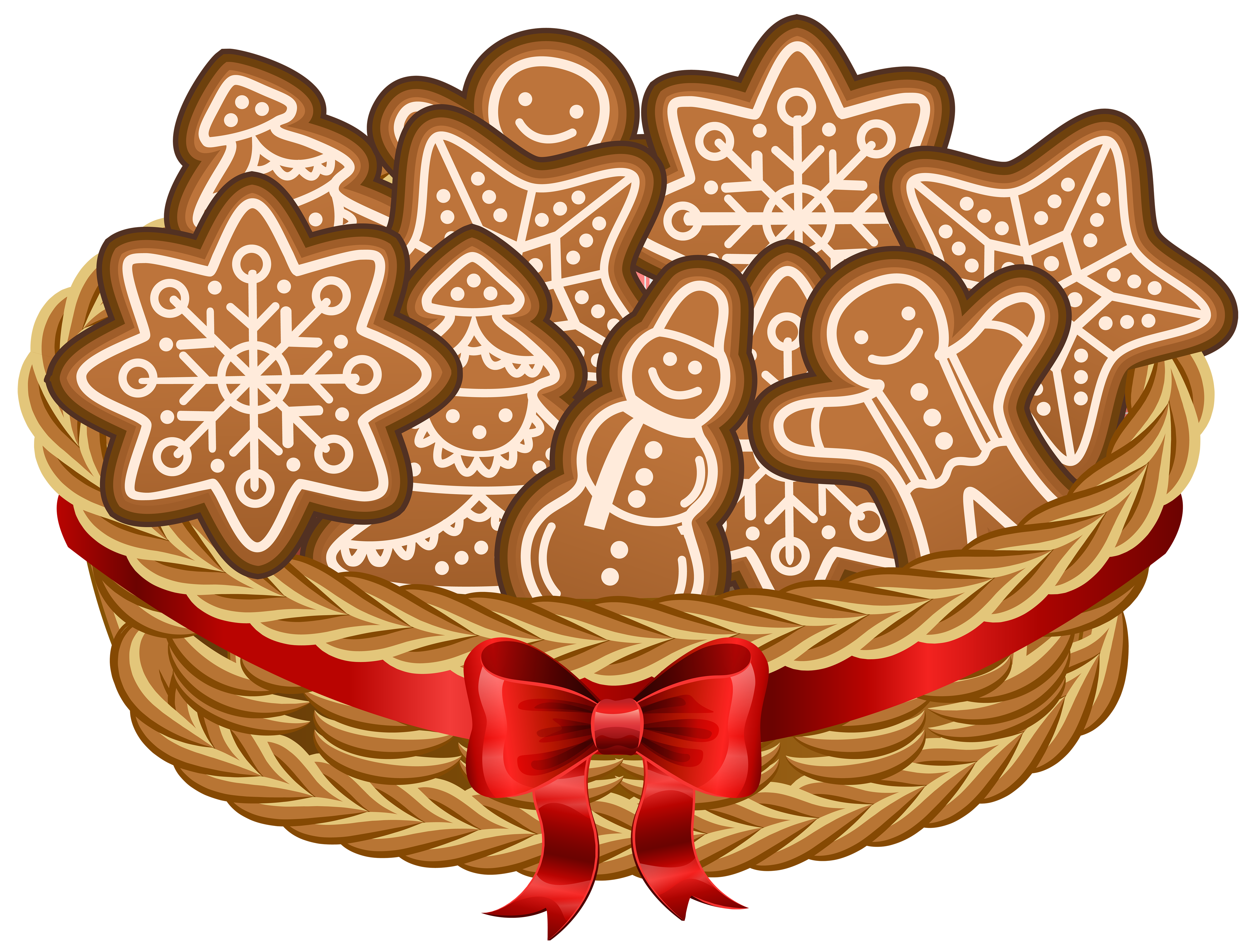Holly clipart hampers. Christmas basket with gingerbread