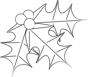 Free holly pages clip. Christmas clipart coloring