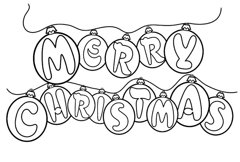 Merry colouring in stencil. Christmas clipart coloring
