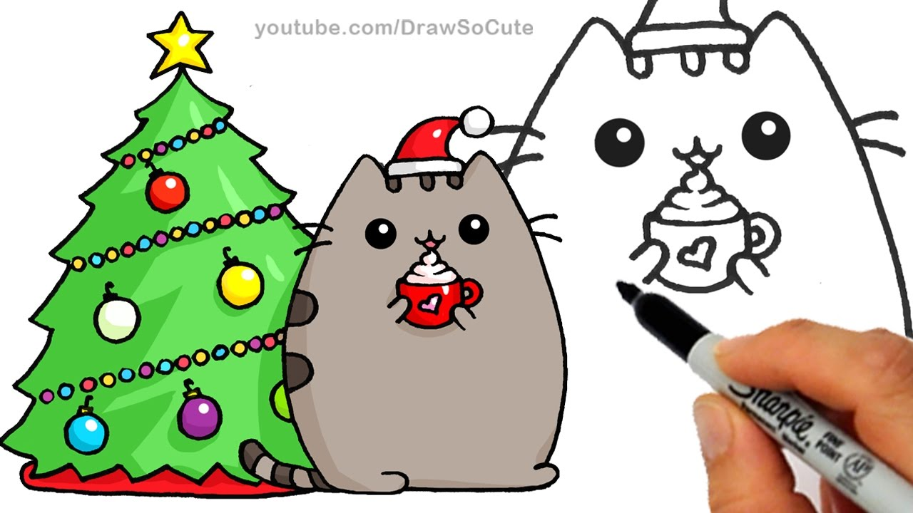 How to draw christmas. Cat clipart easy