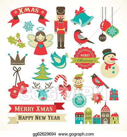 Christmas clipart icon. Vector art retro icons