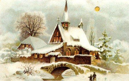 Vintage landscapes vintages cards. Christmas clipart landscape