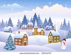Christmas clipart landscape. Vector cartoon illustration of
