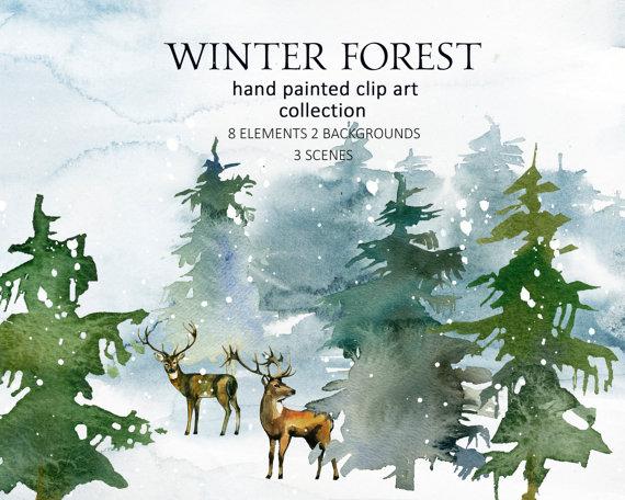 Pine trees deer watercolor. Christmas clipart landscape