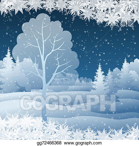 Christmas clipart landscape. Stock illustration winter with