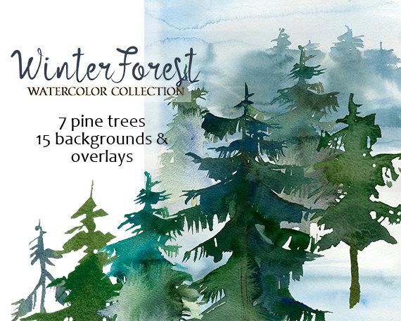 Christmas clipart landscape. Pine trees watercolor fir