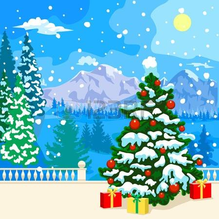 Christmas clipart landscape. Snowy mountain collection mountains