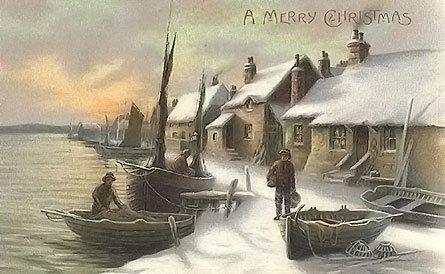 Christmas clipart landscape. Vintage landscapes vintages cards